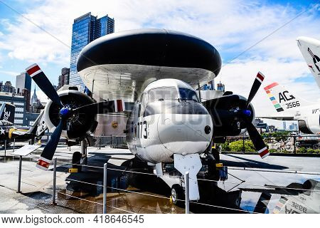 New York City, Usa - June 21, 2018: Aircraft In Intrepid Museum In New York. The Uss Intrepid Hosts