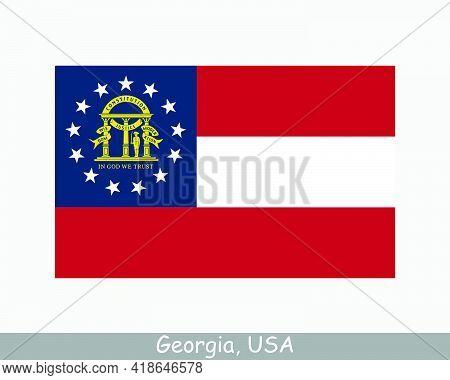 Georgia Usa State Flag. Flag Of Ga, Usa Isolated On White Background. United States, America, Americ