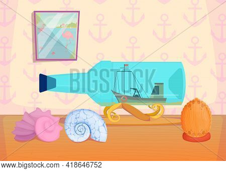 Cartoon Fishing Boat In Bottle And Seashells. Flat Vector Illustration. Cute Collection Of Ocean Sym