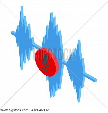 Online Record Speech Recognition Icon. Isometric Of Online Record Speech Recognition Vector Icon For