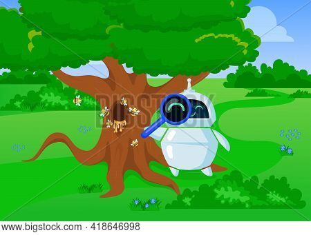 Cute Cartoon Chatbot Exploring Nature With Loupe. Flat Vector Illustration. Friendly Bot In Search O