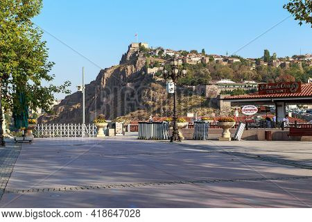 Ankara, Turkey - October 12, 2020: This Is A View Of The Hill Where The Highest Fortification Of The