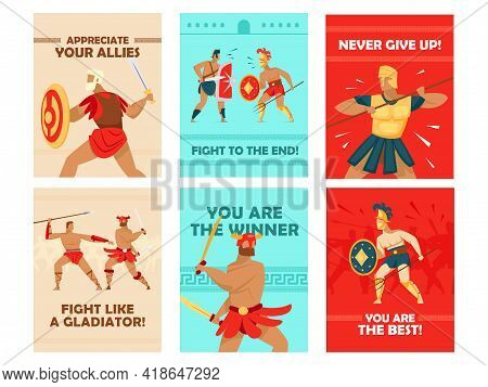 Vivid Greeting Card Designs With Gladiators Fighting. Coliseum Warriors With Swords And Helmets, Mot
