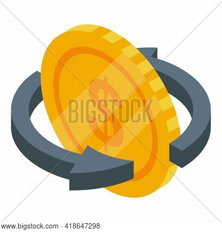 Purchase History Money Coin Icon. Isometric Of Purchase History Money Coin Vector Icon For Web Desig