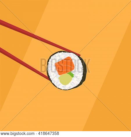 Chopsticks Holding A Sushi Roll. Wooden Chopsticks And Sushi Roll On An Orange Background. Vector Il