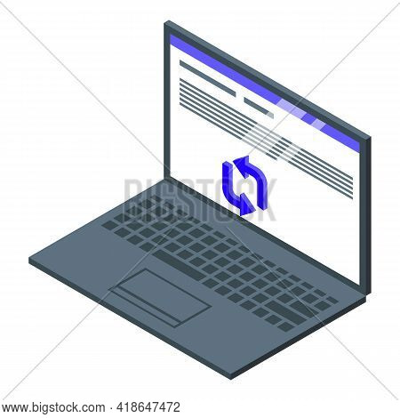 Laptop Repost Icon. Isometric Of Laptop Repost Vector Icon For Web Design Isolated On White Backgrou