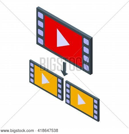 Video Repost Icon. Isometric Of Video Repost Vector Icon For Web Design Isolated On White Background
