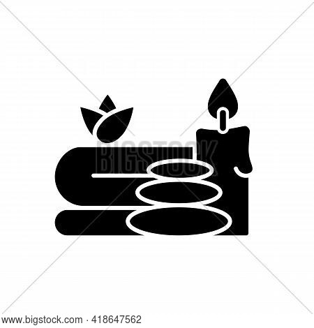 Spa Black Glyph Icon. Luxurious Spa Facilities And Signature Spa Treatments. Offering Special Activi