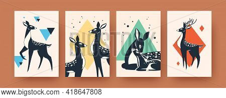 Cute Deer Collection Of Contemporary Art Posters. Leaflets With Mammals Vector Illustrations. Forest