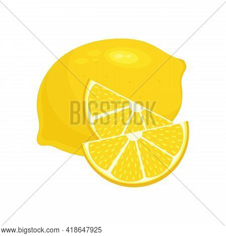 Lemon And Its Wedges. Citrus Fruit. Vitamin C. Illustration In Flat Style. Vector Stock Graphics Iso