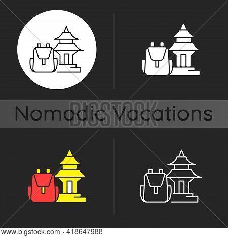 Spiritual Nomad Dark Theme Icon. Trip To Shrine For Spirituality. Visit Holy Place. Asian Landmark.