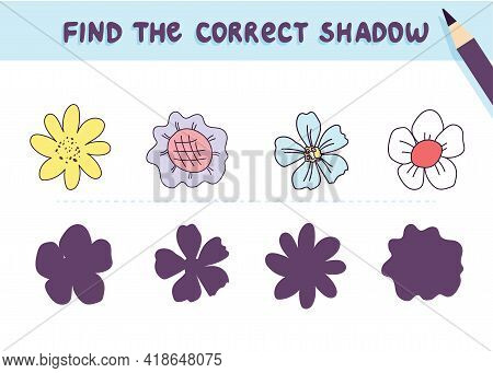 Find The Correct Shadow. Cute Flowers. Educational Game For Kids. Collection Of Children's Games. Ve