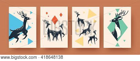 Set Of Abstract Shapes Of Deer On Banners In Scandinavian Style. Dark Deer Silhouettes With Horns On