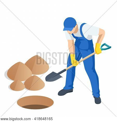 Agricultural Work. Isometric Man Digging Soil With A Shovel. Farming Activity Of Farmer. Work In The