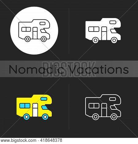 Recreational Vehicle Dark Theme Icon. Roadtrip Trailer. Van For Touring. Nomadic Lifestyle. Camping