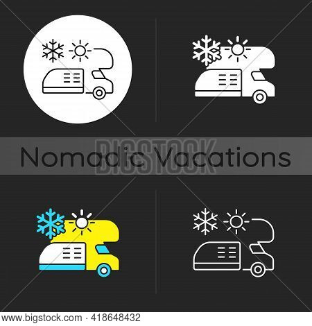 Rv Air Conditioning And Heating Dark Theme Icon. Climate Control For Trailer. Roadtrip Gear. Nomadic