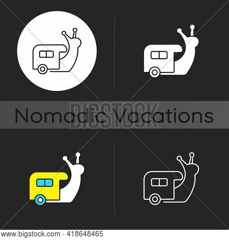 Slow Travel Dark Theme Icon. Recreation And Rest During Tour. Nomadic Lifestyle. Camping Trip In Veh