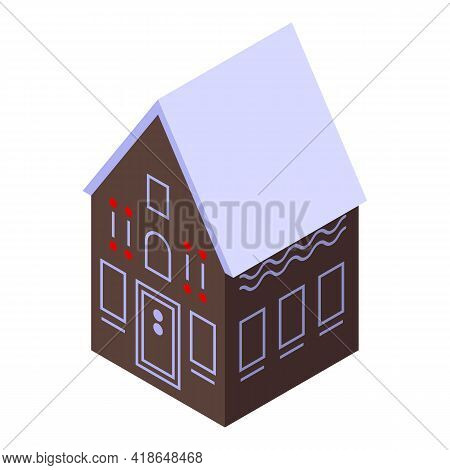 Baked Gingerbread House Icon. Isometric Of Baked Gingerbread House Vector Icon For Web Design Isolat