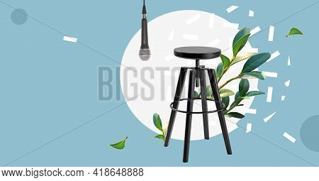 Microphone And Wooden Stool On A Stand Up Comedy Stage. Public Speaking. Speaker Speech Presentation