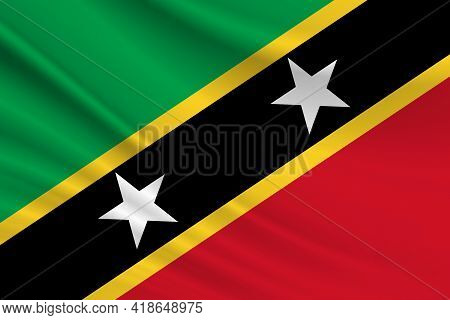 Flag Of St. Kitts And Nevis. Fabric Texture Of The Flag Of St. Kitts And Nevis.