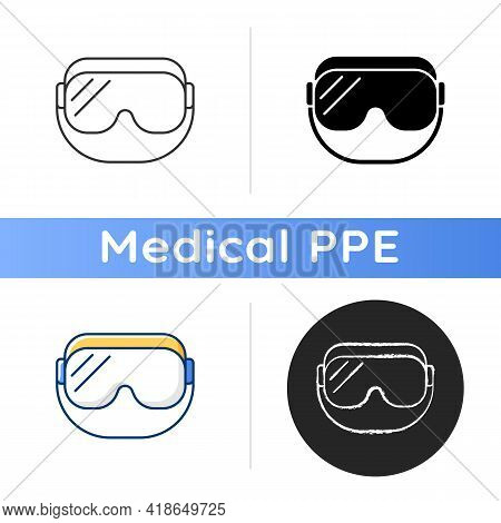 Medical Goggles Icon. Medical Equipment For Eye Protection. Protective Wear For Work In Laboratory.