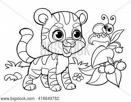 Coloring Pages Tiger And Beetle On The Bush. Wild Animals. Smiling Wild African Beast. Educational D
