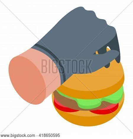 Burger Cooking Icon. Isometric Of Burger Cooking Vector Icon For Web Design Isolated On White Backgr