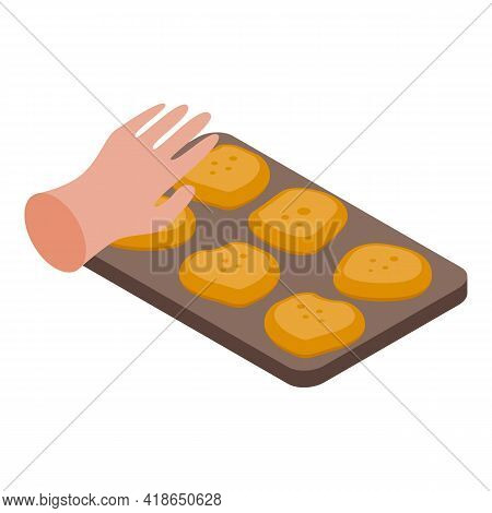 Cookies Baking Icon. Isometric Of Cookies Baking Vector Icon For Web Design Isolated On White Backgr