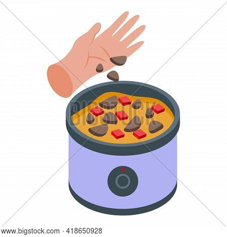 Hand Preparing Food Icon. Isometric Of Hand Preparing Food Vector Icon For Web Design Isolated On Wh