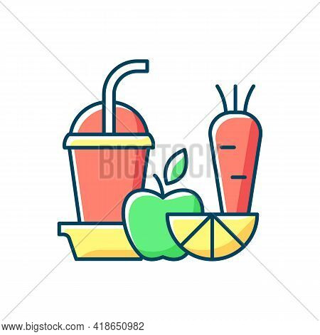 Fresh Juice To Go Rgb Color Icon. Fruit And Vegetable Smoothies. Balanced Diet. Meal Replacement. Ju