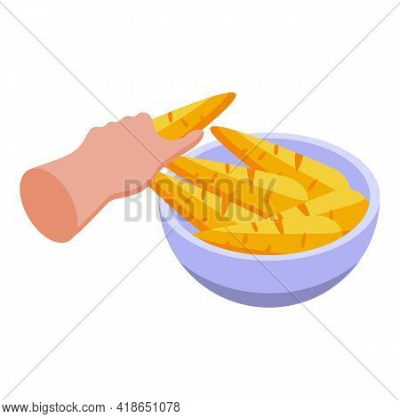 Bowl Carrots Icon. Isometric Of Bowl Carrots Vector Icon For Web Design Isolated On White Background
