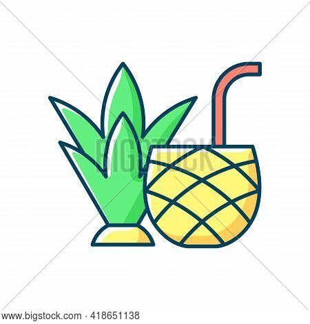 Pina Colada Rgb Color Icon. Mixed Alcoholic Drink, Cocktail. Tropical Taste. No Sugar-added Strained