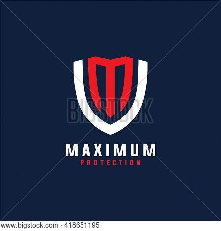 Maximum Protection Logo Design. Abstract Shield Combined With Initial Letter M Concept Logo Design.
