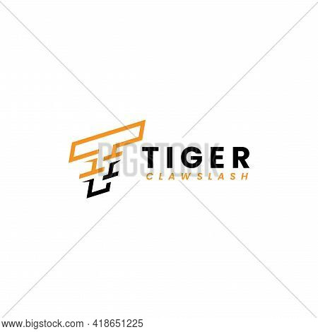 Initial Letter T With Tiger Claw Slash Style Concept Logo Design. Monogram Logo Vector Illustration.