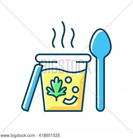 Takeaway Soups Rgb Color Icon. Liquid Food With Meat, Vegetables. Broth, Chowder. Nutritious Dinner