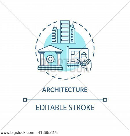 Architecture Concept Icon. Copyright Object Idea Thin Line Illustration. Plans, Blueprints And Drawi