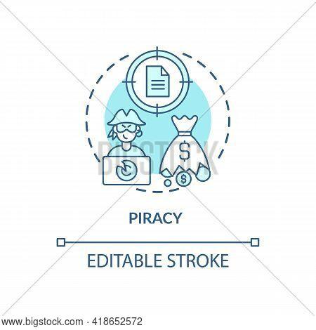 Piracy Concept Icon. Copyright Infringement Type Idea Thin Line Illustration. Stolen Profits. Illega