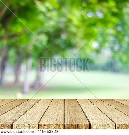 Perspective Wood And Blur Outdoor Park Nature Background, Product Display Montage, Spring And Summer
