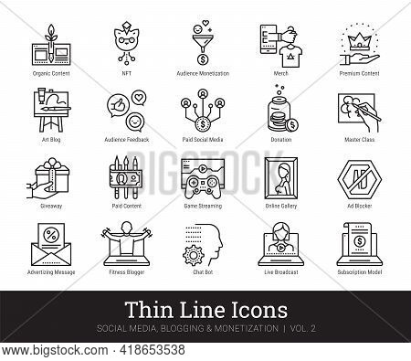 Social Media, Blog Monetization Thin Line Icons. Vector Clip Art Collection Isolated On White Backgr
