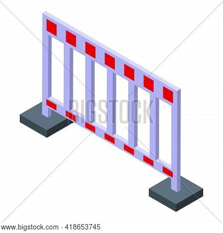 Traffic Barrier Icon. Isometric Of Traffic Barrier Vector Icon For Web Design Isolated On White Back