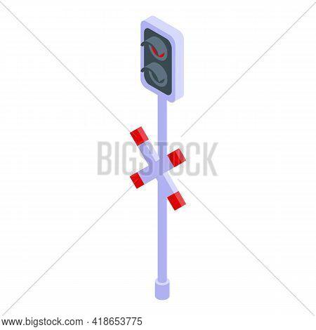 Traffic Lights Railway Icon. Isometric Of Traffic Lights Railway Vector Icon For Web Design Isolated
