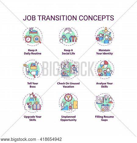 Job Transition Concept Icons Set. Job Change Tips Idea Thin Line Rgb Color Illustrations. Checklist
