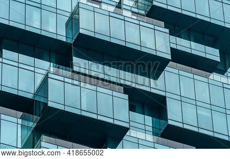 Bangkok, Thailand - April 01, 2021: Close Up To The Unique Exterior Design Of The Glass Building, Th