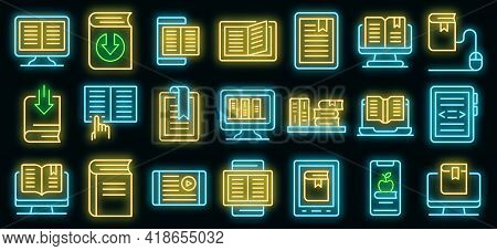 Ebook Icons Set. Outline Set Of Ebook Vector Icons Neon Color On Black