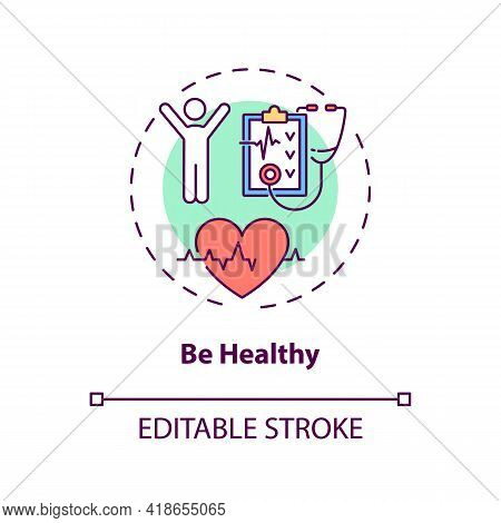 Be Healthy Concept Icon. Health Care Idea Thin Line Illustration. Get Physical Activity. Stress Mana