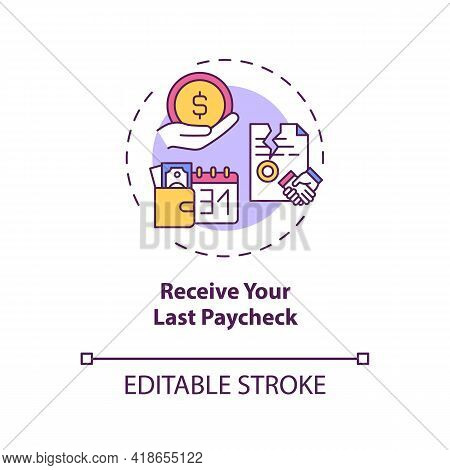 Receive Your Last Paycheck Concept Icon. Get Your Earned Money Idea Thin Line Illustration. Last Res
