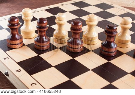 Pawns Are Placed On A Chessboard, Educational Chess, Selective Focus