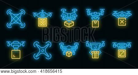 Drone Delivery Service Icons Set. Outline Set Of Drone Delivery Service Vector Icons Neon Color On B
