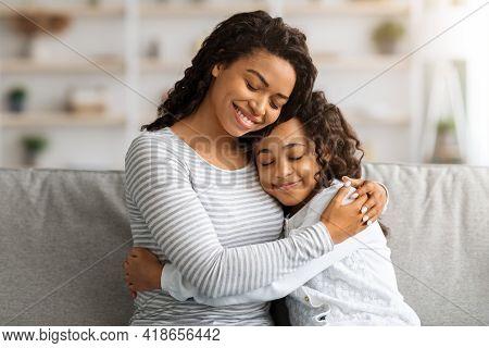 Loving African American Family Bonding At Home