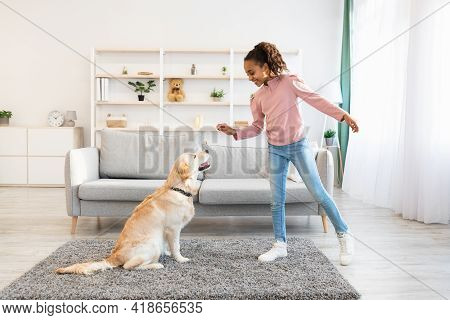 Black Girl Training And Giving Treat To Her Obedient Dog